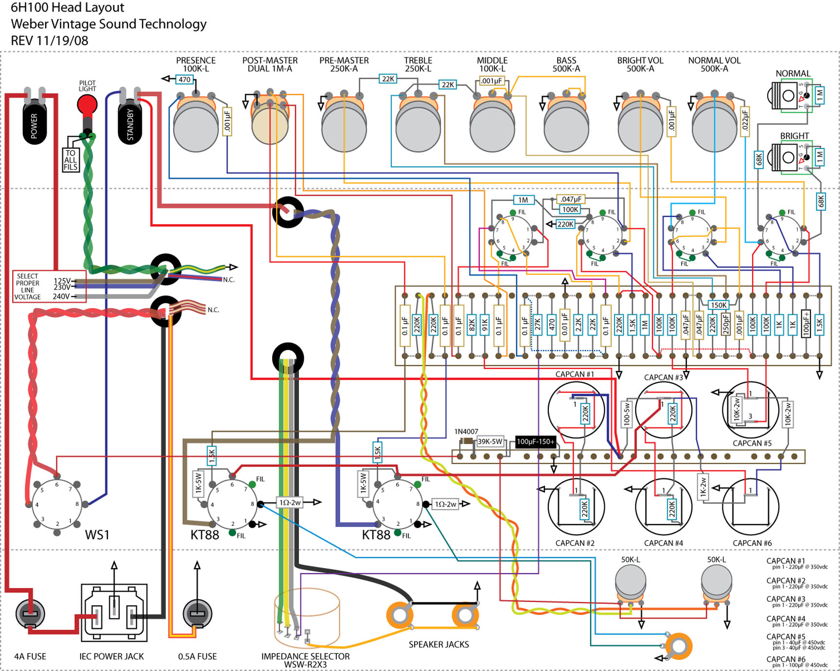 6h100_layout  Amp Schematic Wiring Diagram on