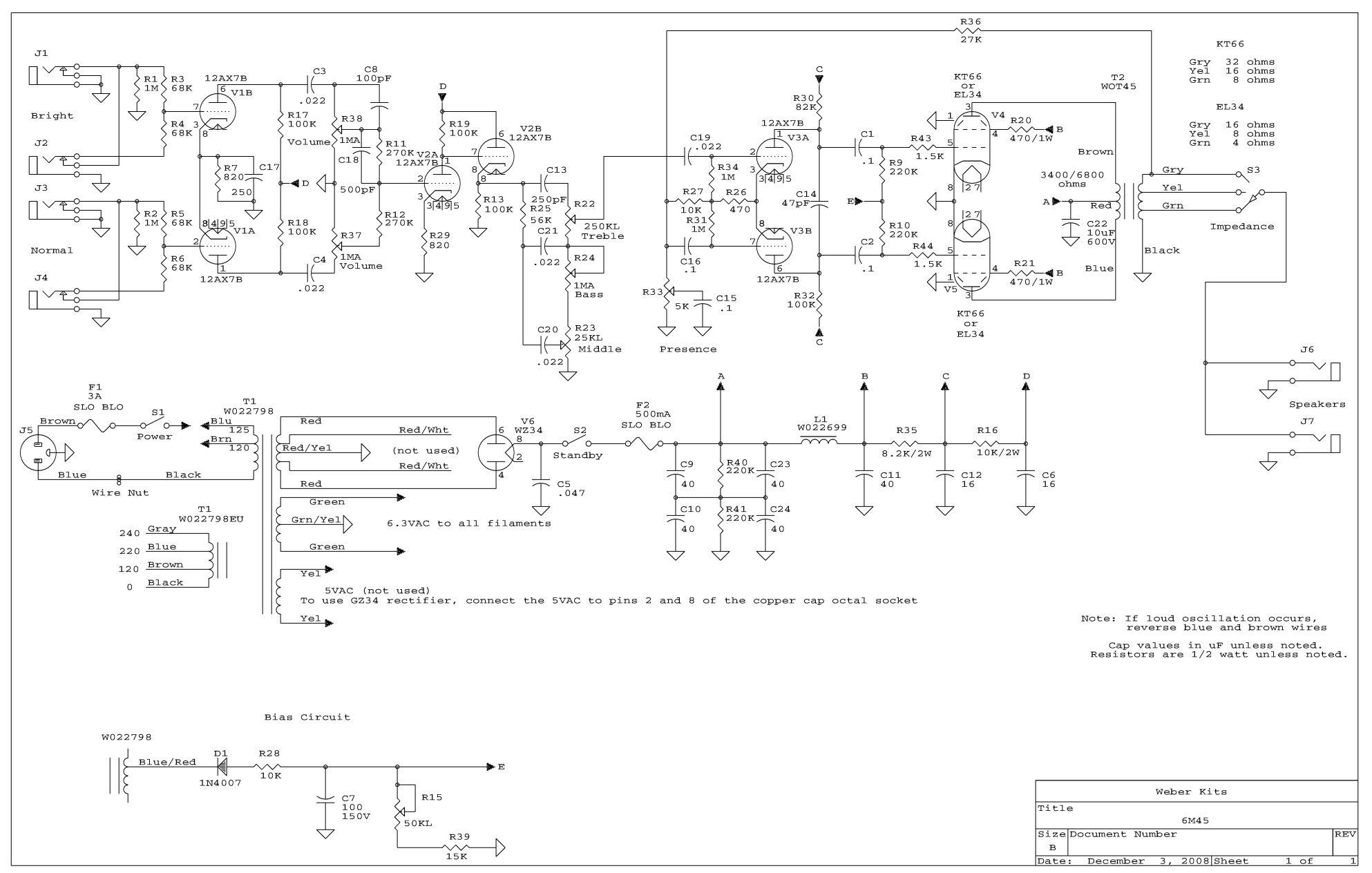 6m45 Amp Kit Vox Guitar Wiring Diagram Schematic