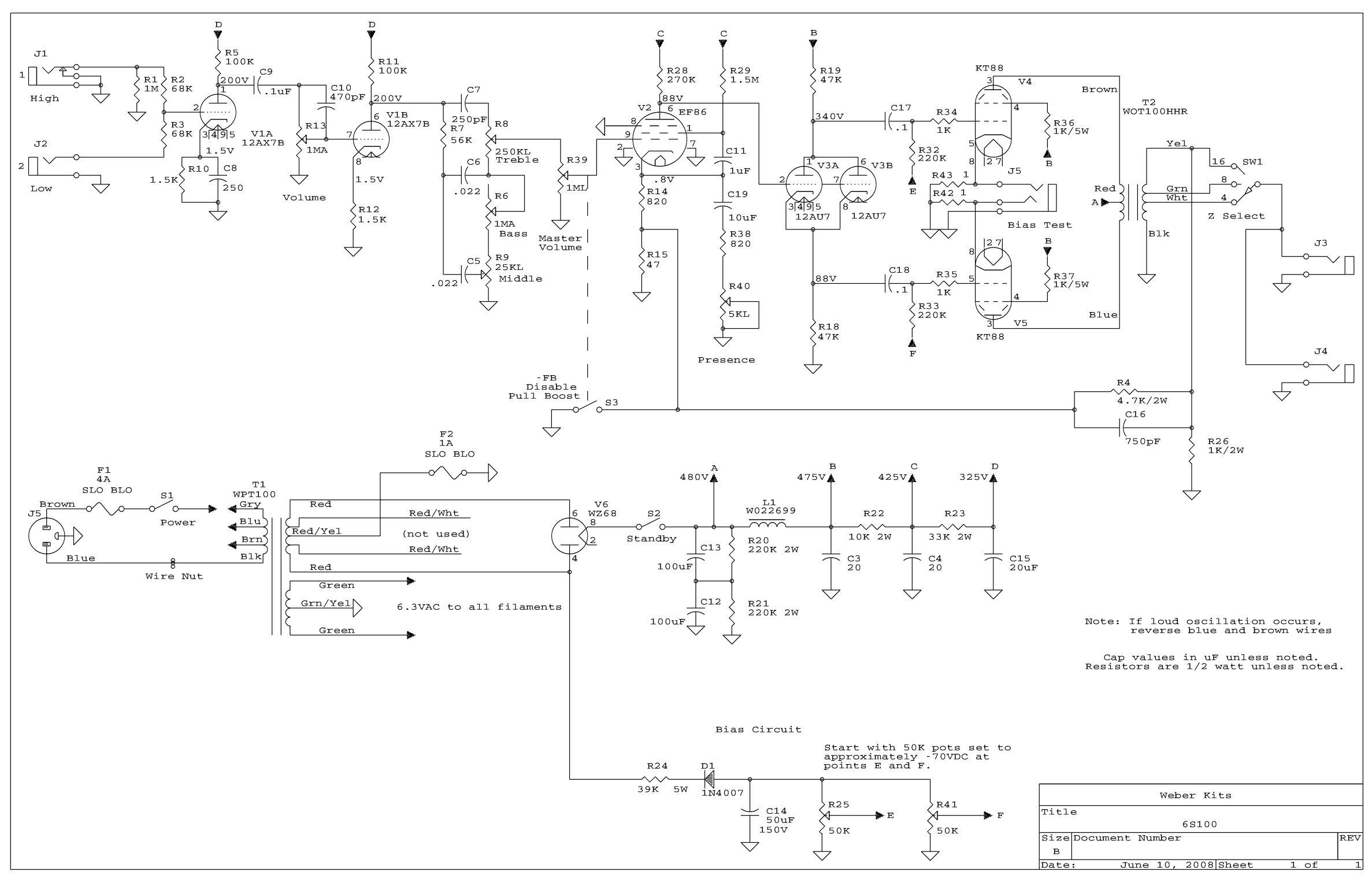 sunn amp schematic 6s100 amp kit  6s100 amp kit